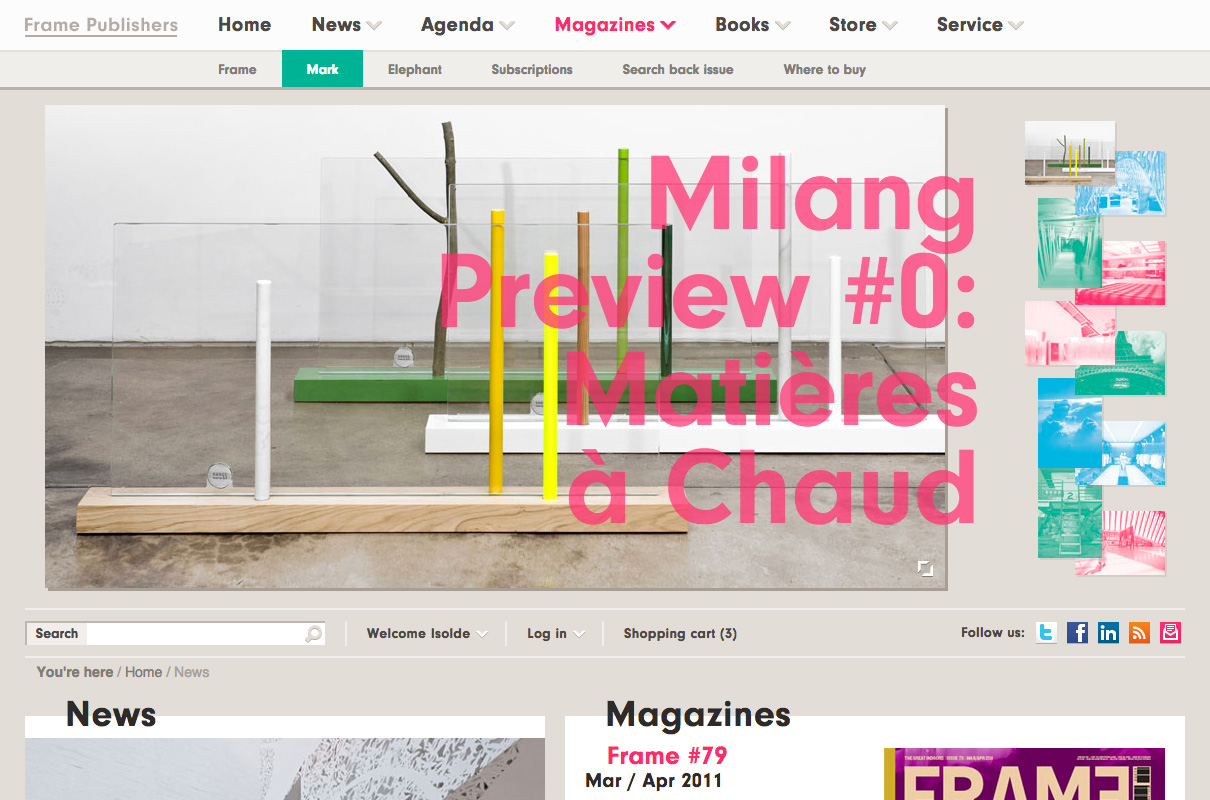 Screenshot van de Frame Magazine website
